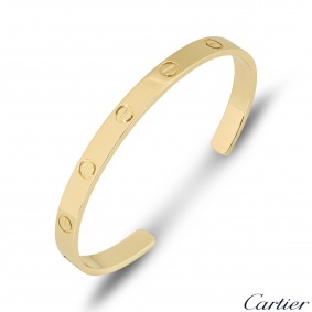 Cartier Yellow Gold Plain Cuff Love Bracelet Size 20 B6032420